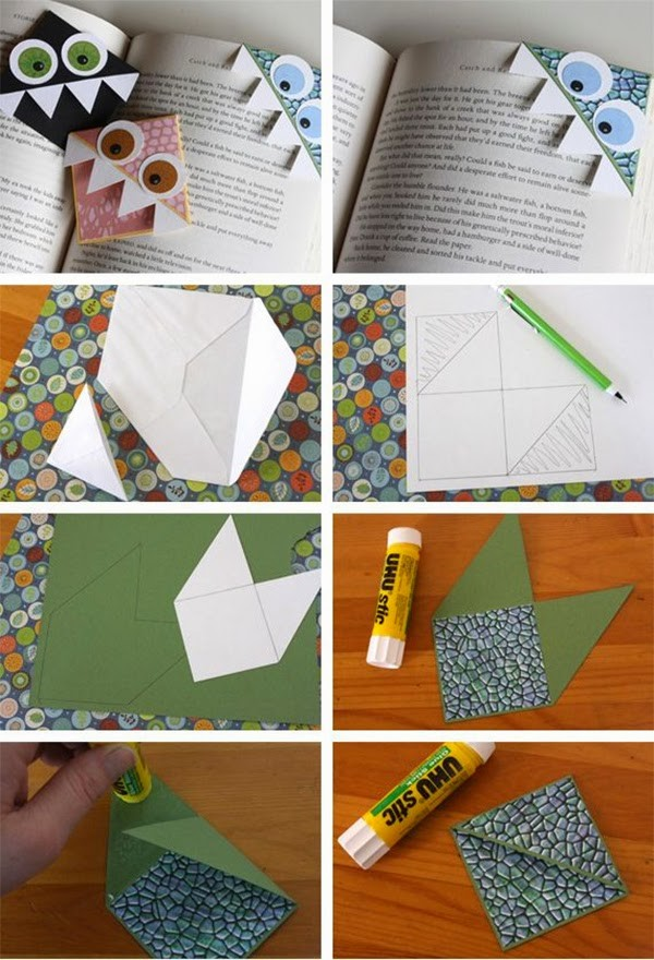 Monster Shaped Bookmarks for Kids: Simple Paper Craft Step by Step Tutorials for Kids