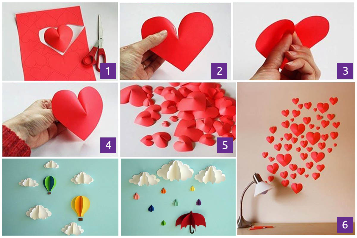 Wall Decoration with Paper Heart Craft - Simple Paper Craft Step by Step Tutorials for Kids
