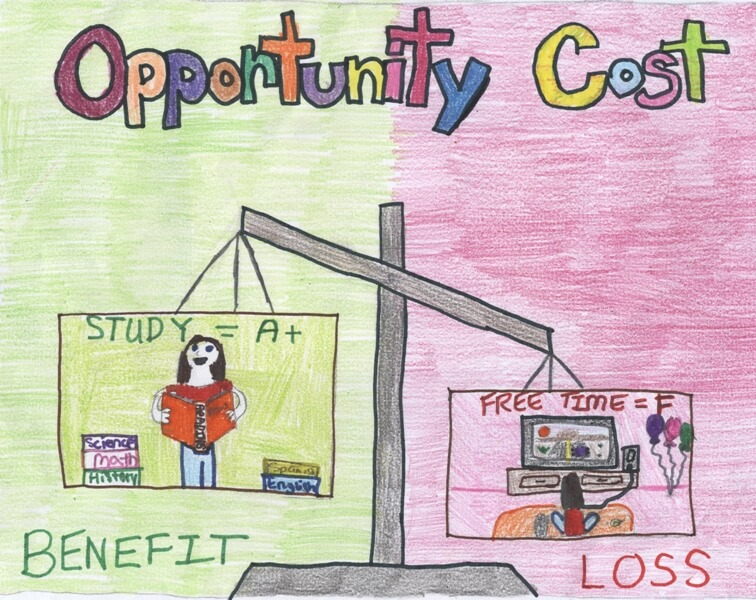 opportunity cost is the loss or the benefit that could have been enjoyed if the alternative choice was chosen.