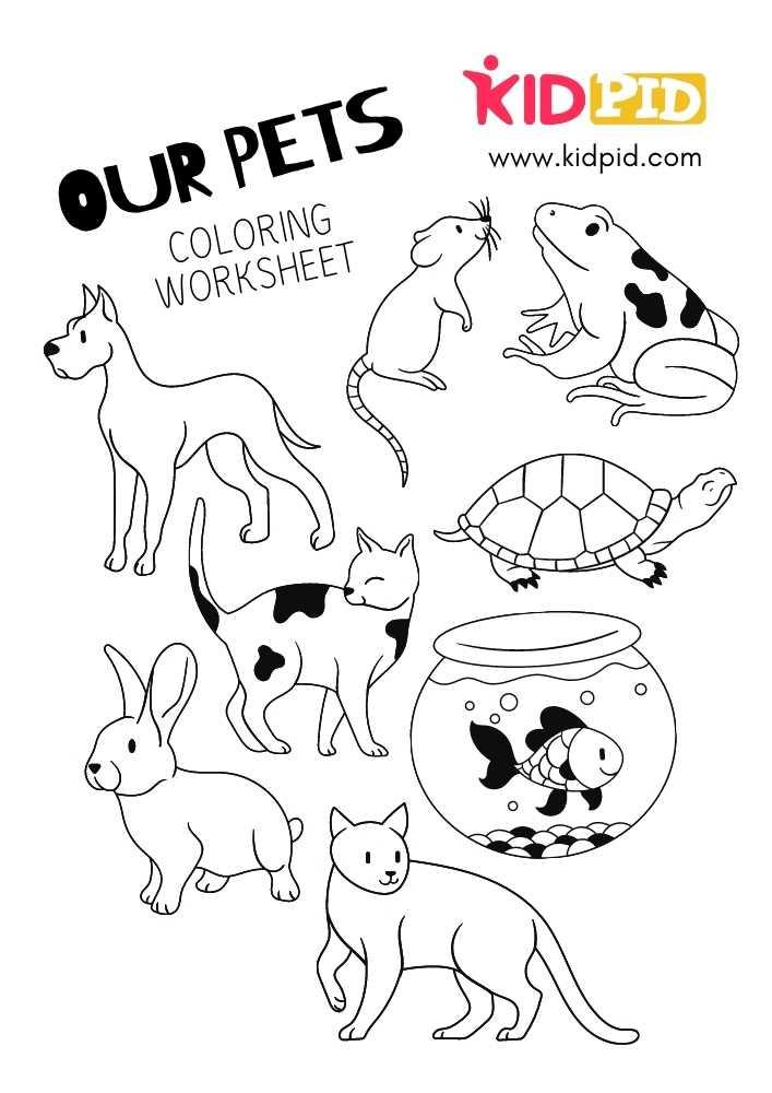 Pets Coloring Printable Worksheets For Kids - Kidpid