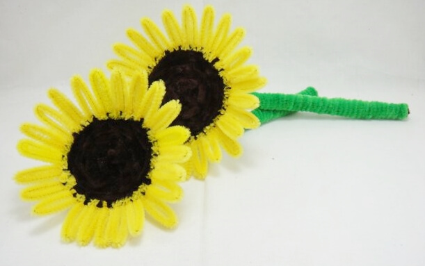 Bright Sunflower Made up of Pipe Cleaners
