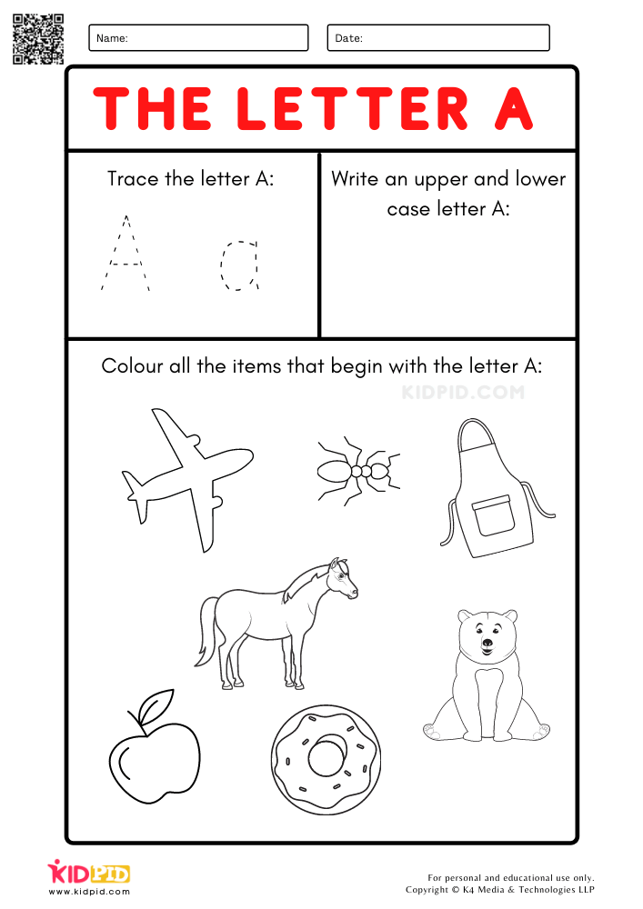 A-Z Letter Focus Worksheets for Preschool Trace The Letter A