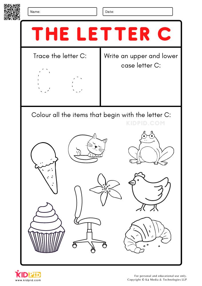 A-Z Letter Focus Worksheets for Preschool . Trace Letter C