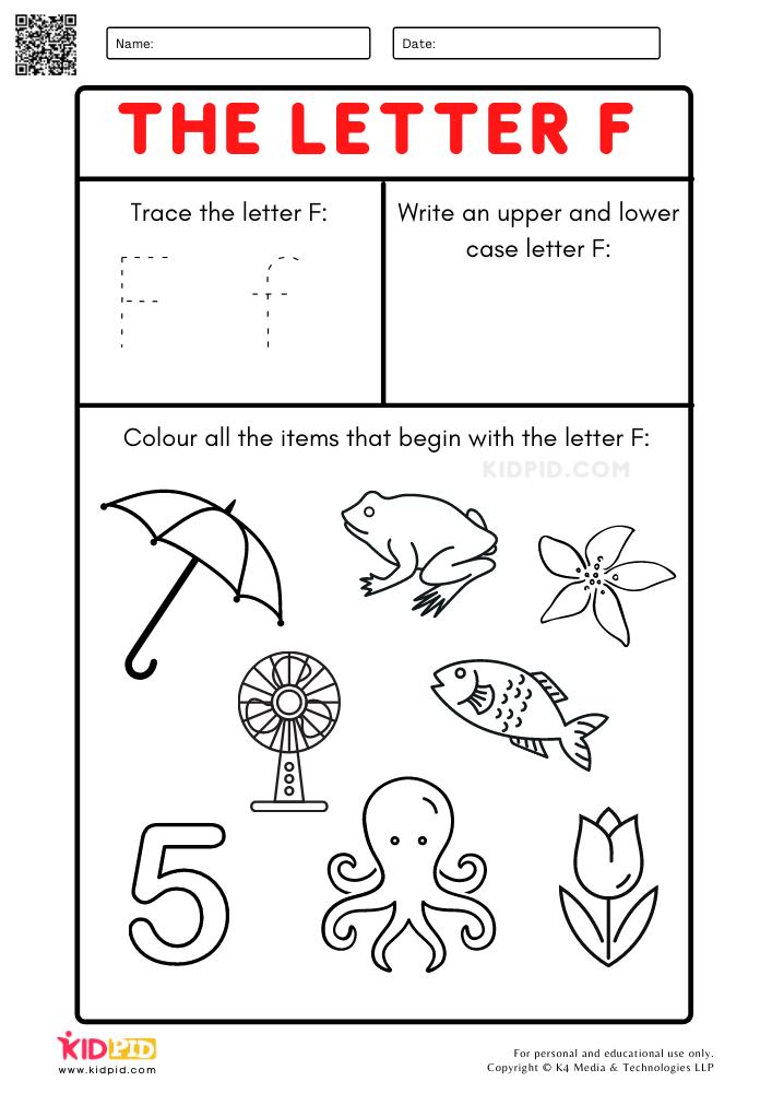 A-Z Letter Focus Worksheets for Preschool Trace Letter F