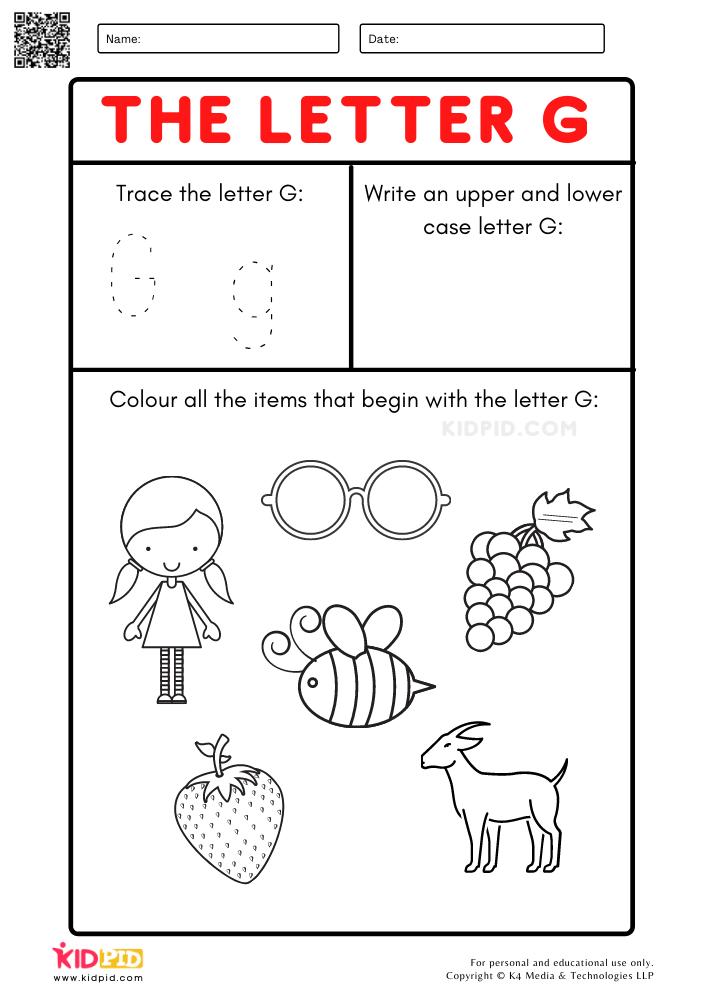 A-Z Letter Focus Worksheets for Preschool Trace Letter G