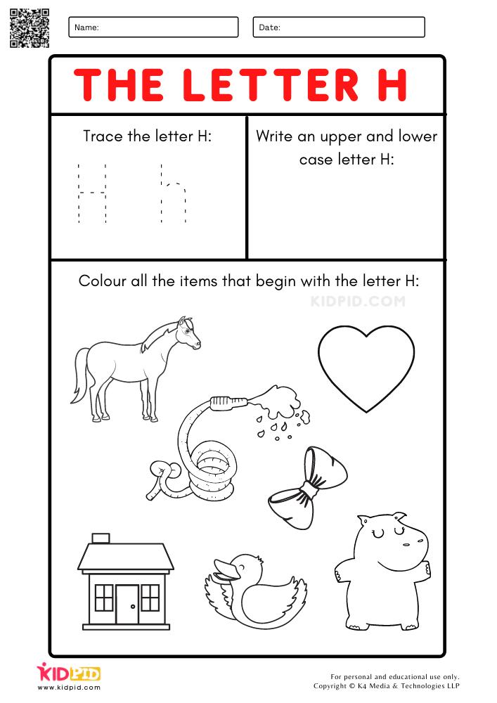 A-Z Letter Focus Worksheets for Preschool Trace Letter H