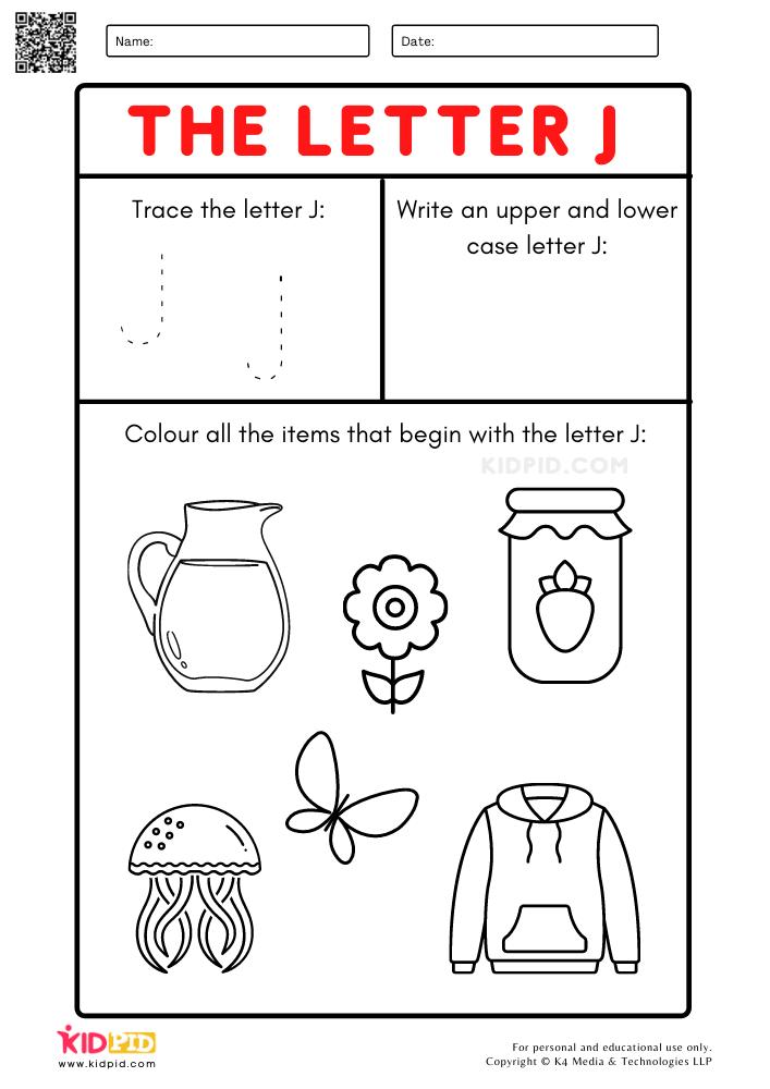 A-Z Letter Focus Worksheets for Preschool . Trace Letter J