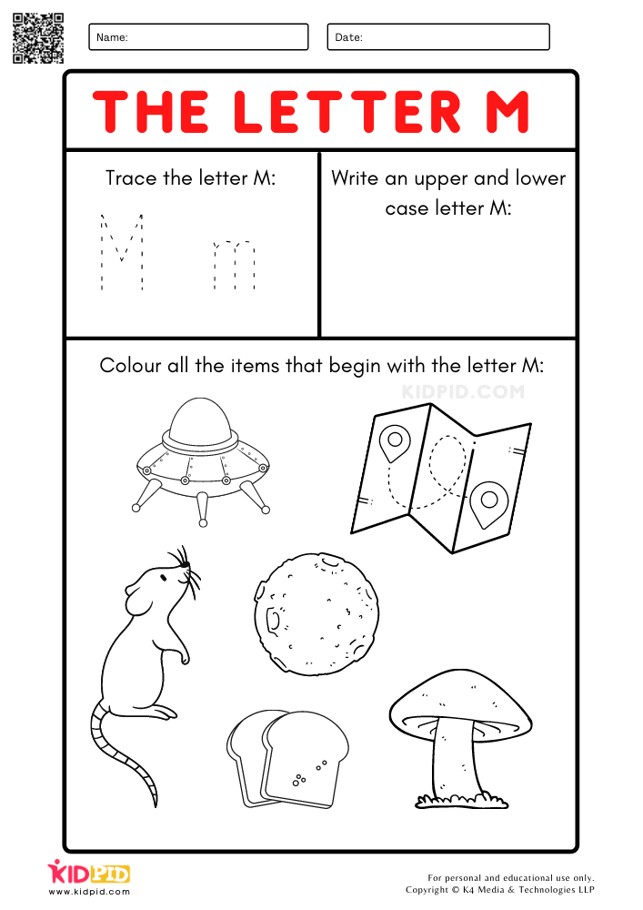 A-Z Letter Focus Worksheets for Preschool Trace Letter M