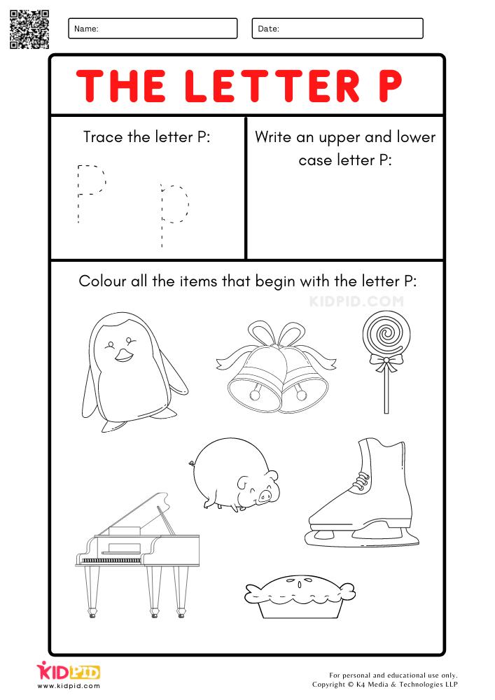 Trace Letter P