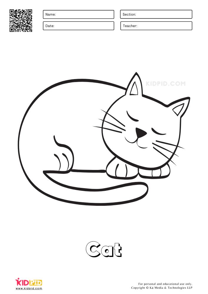Farm Animal Coloring Printable Worksheets Cat
