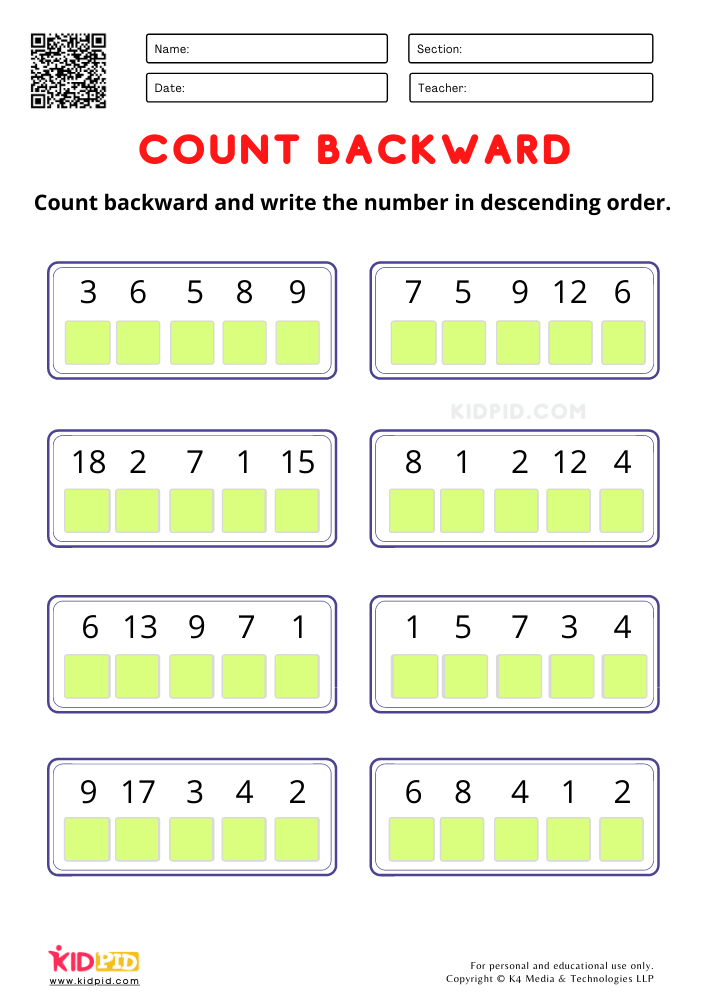 Count Backward and write the number worksheets for kindergarten Count backward worksheet