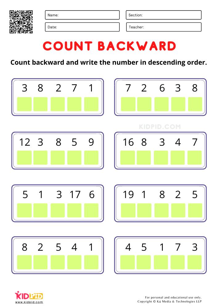 Revising the backward counting skills