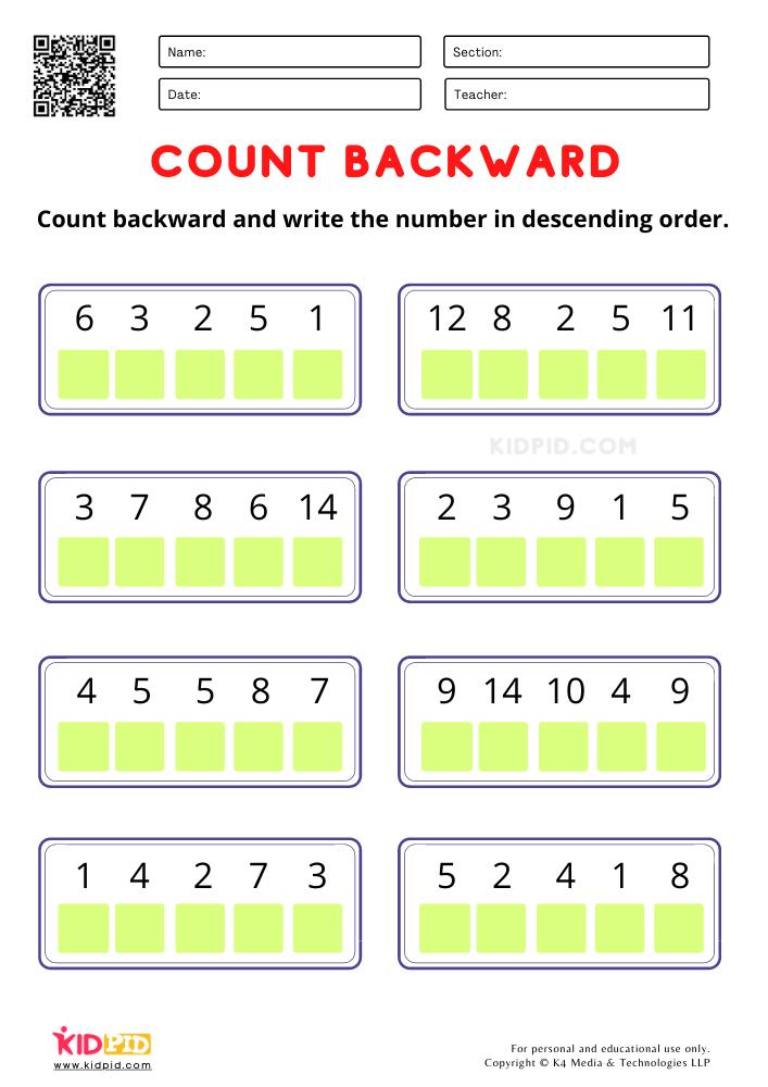 Easy worksheet for improving descending order