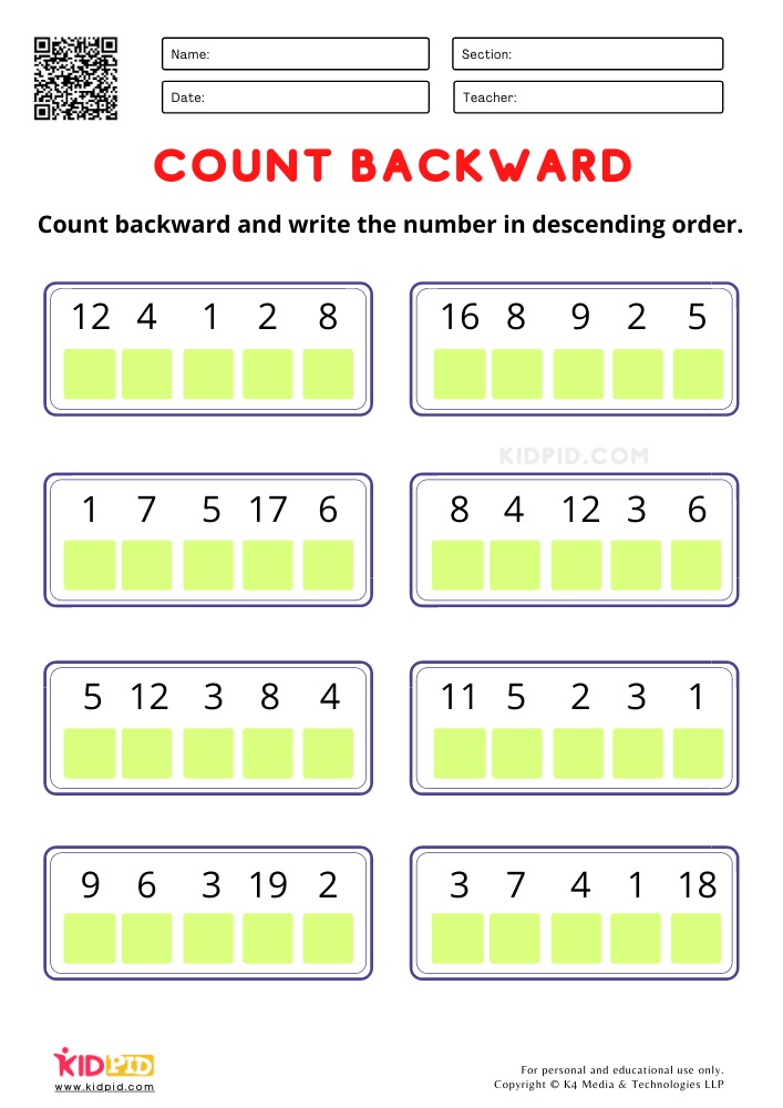 Count Backward and write the number worksheets for kindergarten Fun count backward worksheet