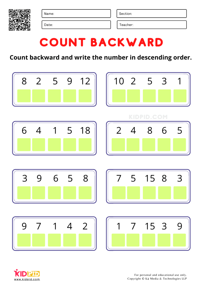 Count Backward and write the number worksheets for kindergarten Math activity worksheet