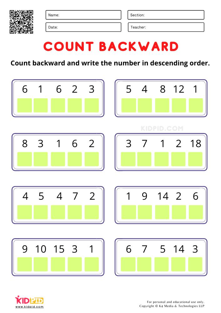 Count Backward and write the number worksheets for kindergarten Enhancing the descending order skills