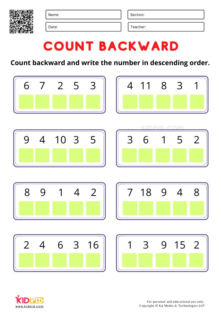 Count Backward and write the number worksheets for kindergarten Counting backward worksheet