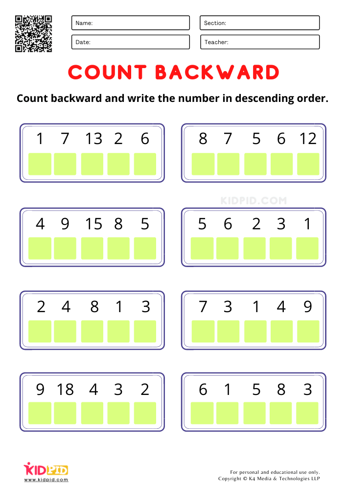 Count Backward and write the number worksheets for kindergarten Counting backward activity