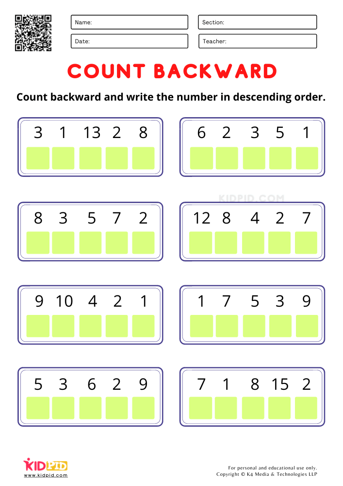 Count Backward and write the number worksheets for kindergarten Mathematical counting backward activity