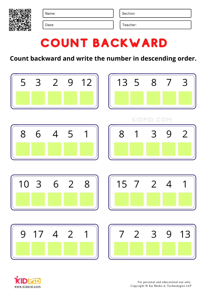 descending order worksheet for kindergarten
