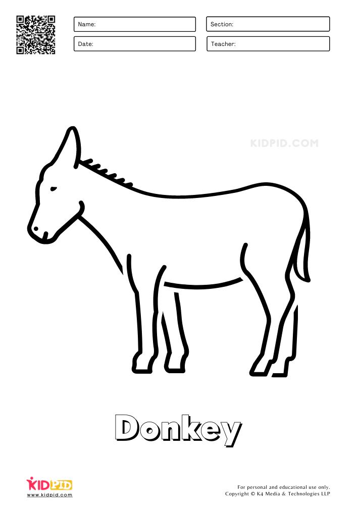 Farm Animal Coloring Printable Worksheets Donkey