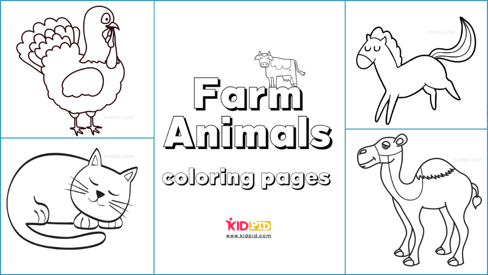 Farm Animal Coloring Printable Worksheets - Kidpid