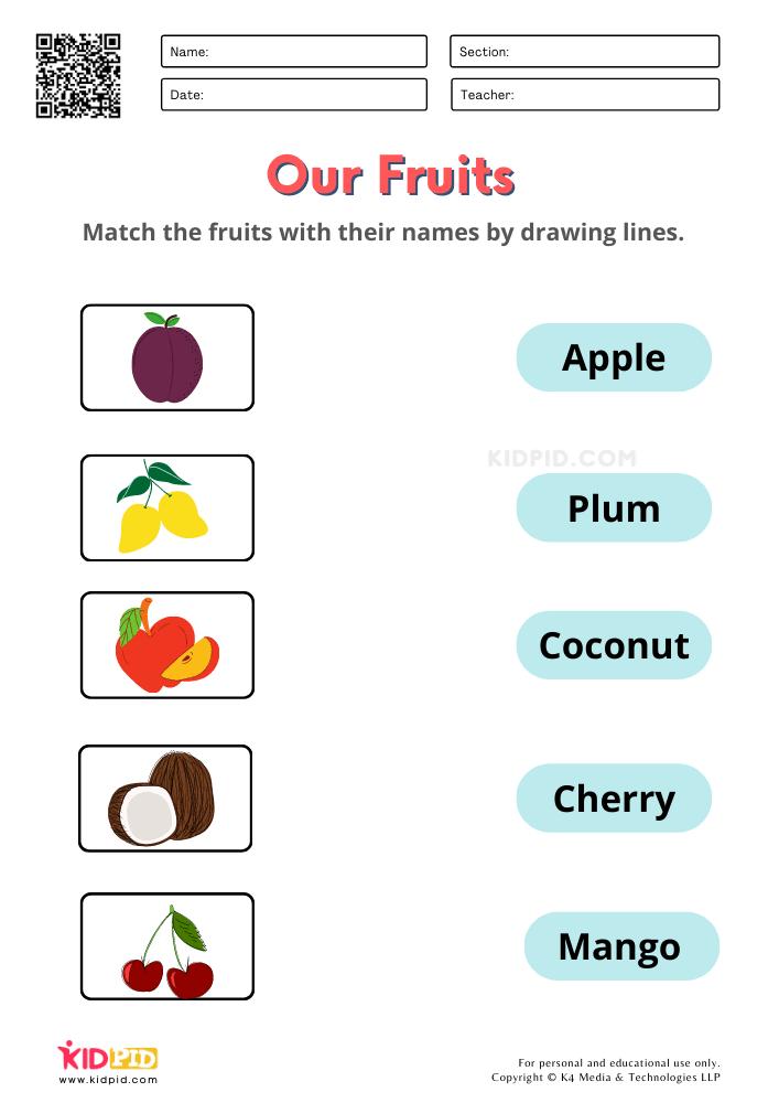 Fruits and Vegetables / FREE Printable Worksheets for Kindergarten Matching Fruit Names