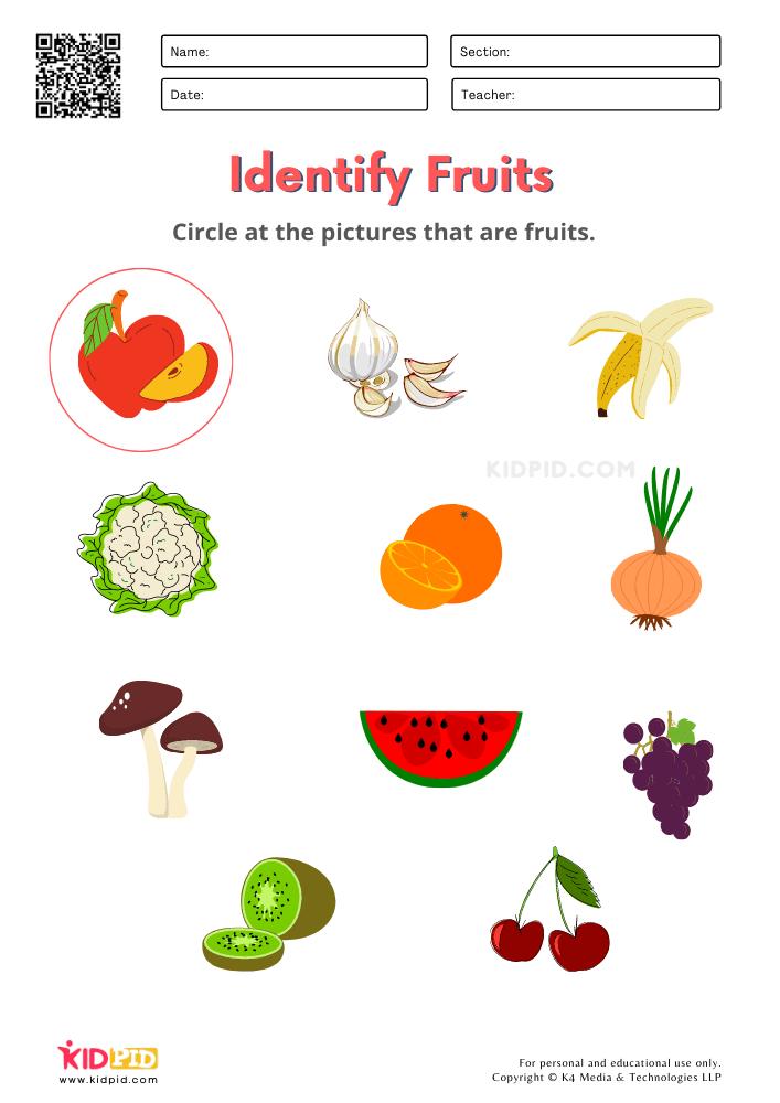 Fruits and Vegetables / FREE Printable Worksheets for Kindergarten Choose Your Fruit