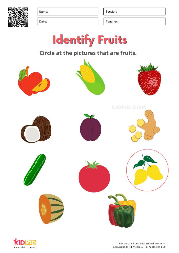 Fruits And Vegetables / FREE Printable Worksheets For Kindergarten - Kidpid