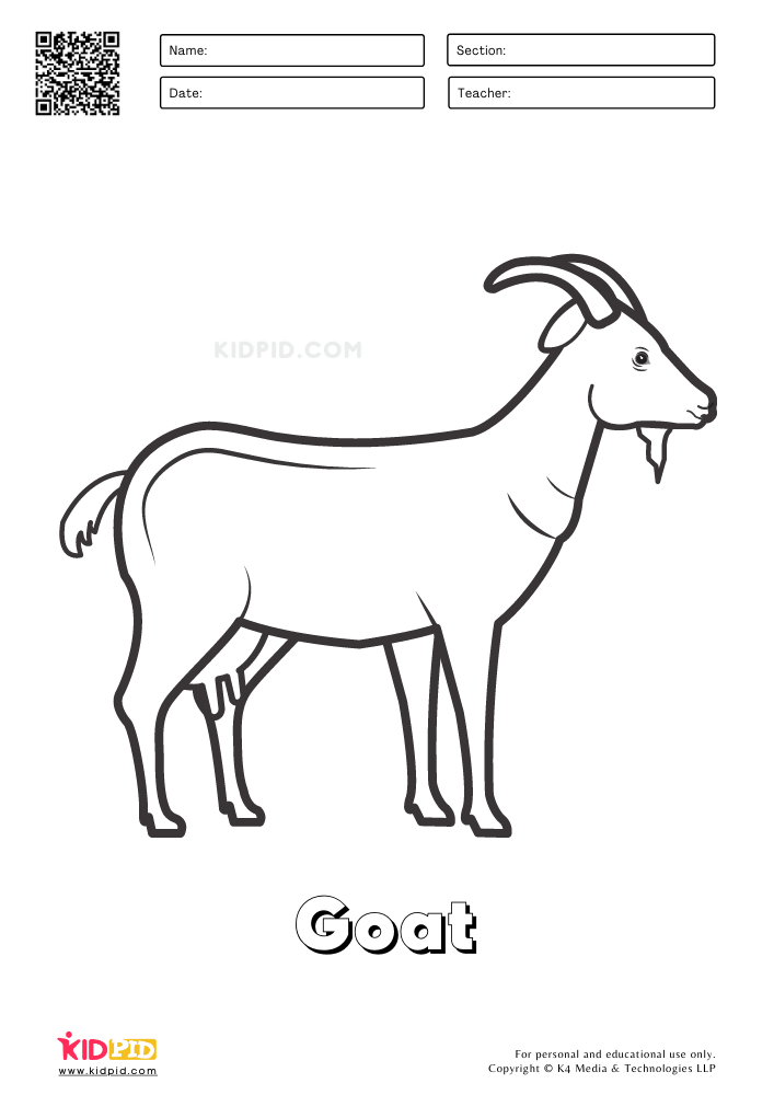 Farm Animal Coloring Printable Worksheets Goat