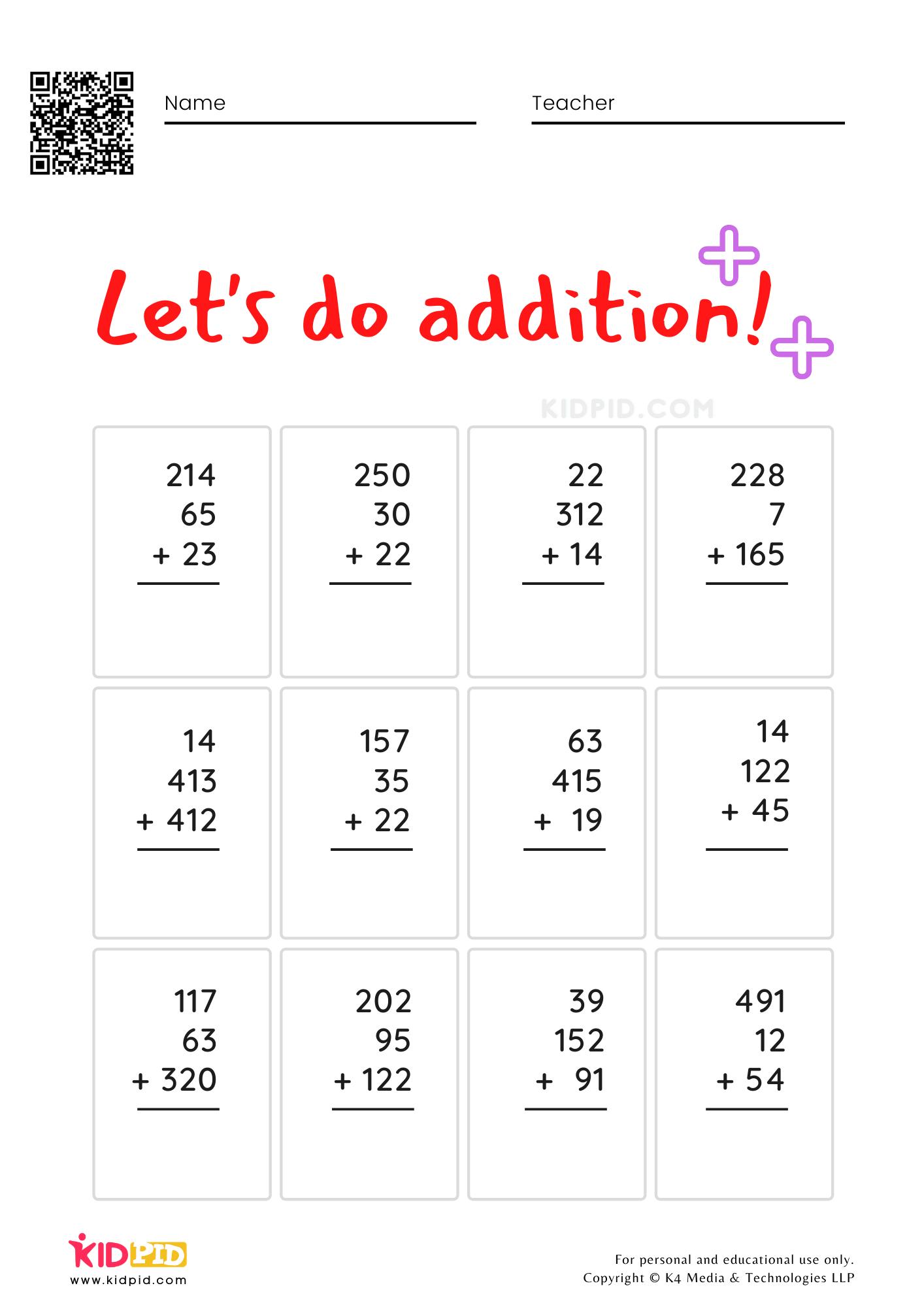 Multi-digit Addition Math Foundational Worksheets