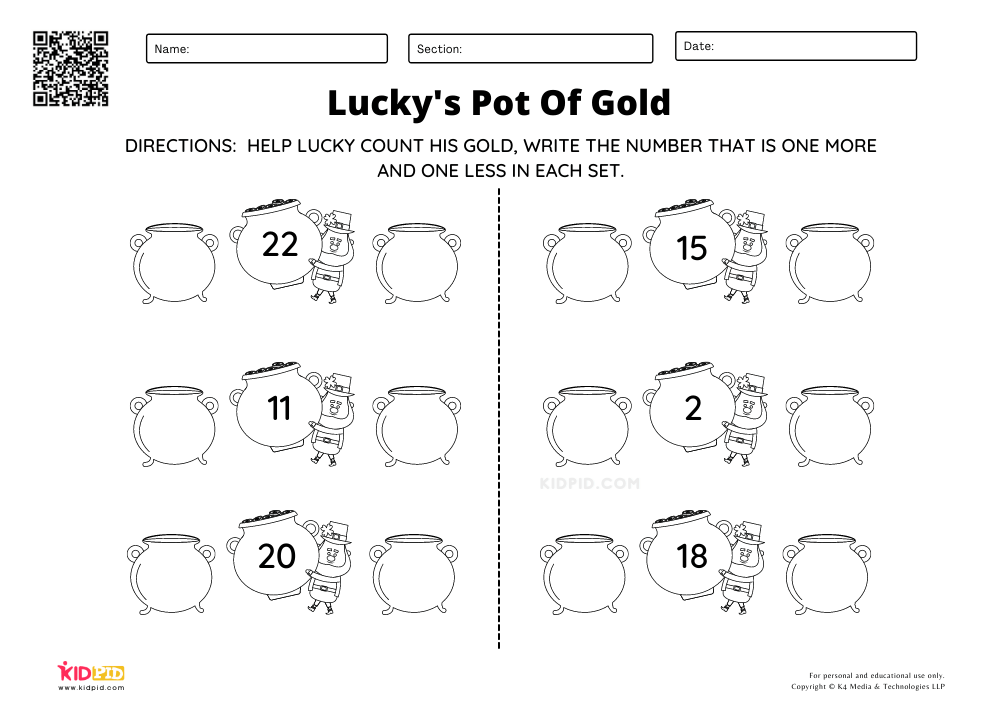One More One Less Gold Counting Worksheets A simple counting worksheet