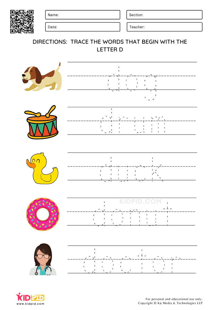 Tracing Simple Words - Things that Start with Alphabet A-Z
