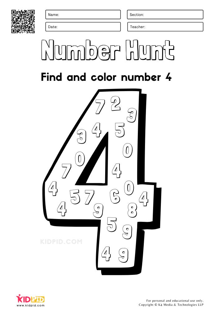 Number Hunt Coloring Preschool Worksheets