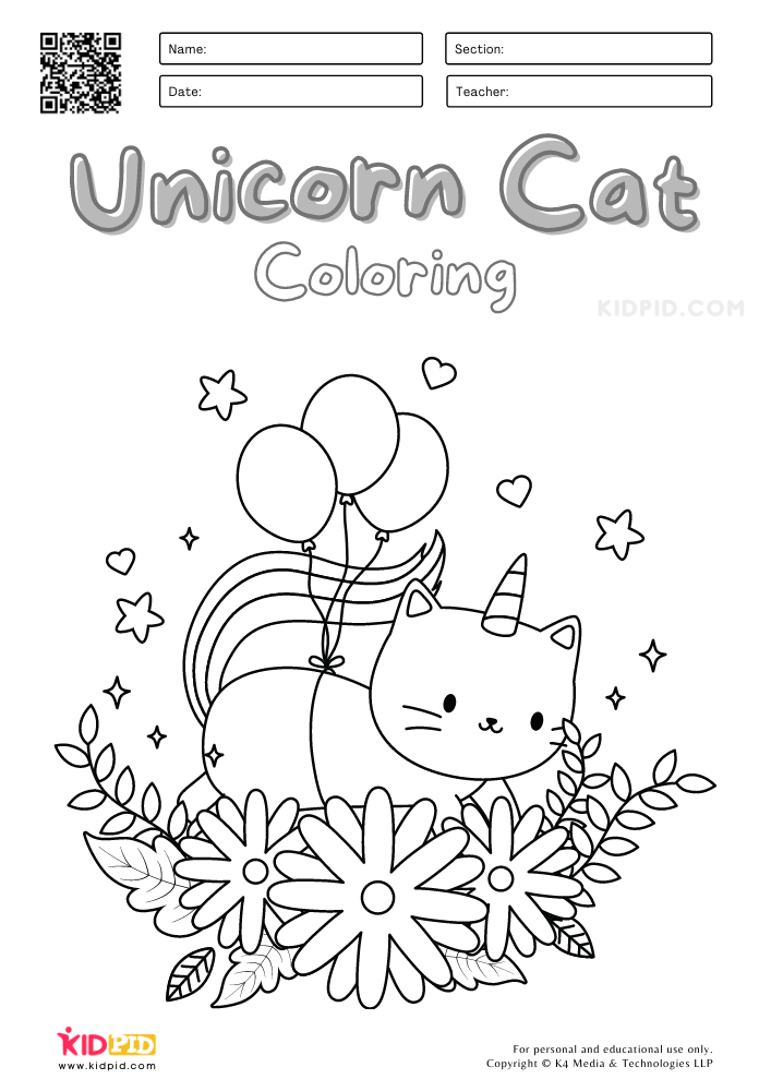 Unicorn Cat Coloring Pages for Kids