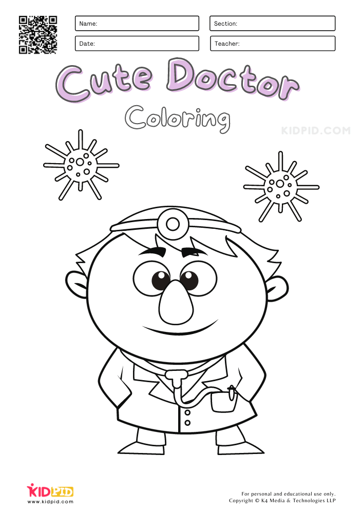 Cute Doctor Coloring Pages for Kids