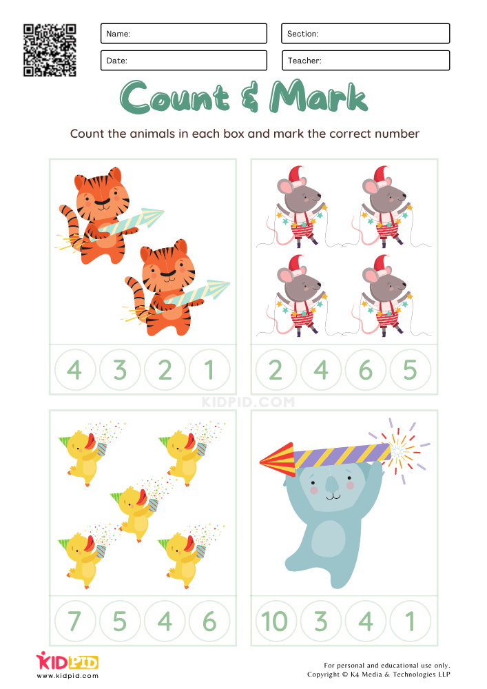 Count & Mark Numbers Christmas Worksheets for Kids