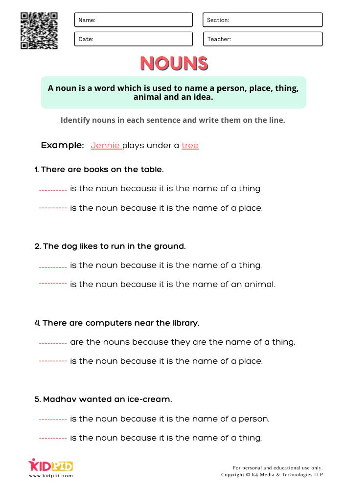 Identify & Write Noun Worksheets for Grade 1