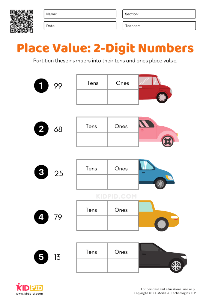 Place Value Worksheet for first grade