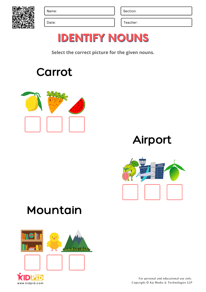 Nouns With Pictures Worksheets for Grade 1