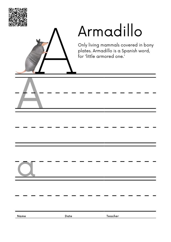 WORKSHEET 1 Animal Alphabet Letter Practice Free Printable Worksheets