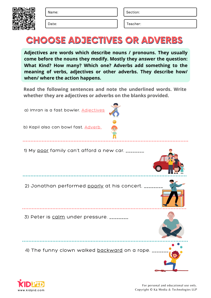 WORKSHEET 1 Choose Adjectives or Adverbs Printable Worksheets for Grade 1