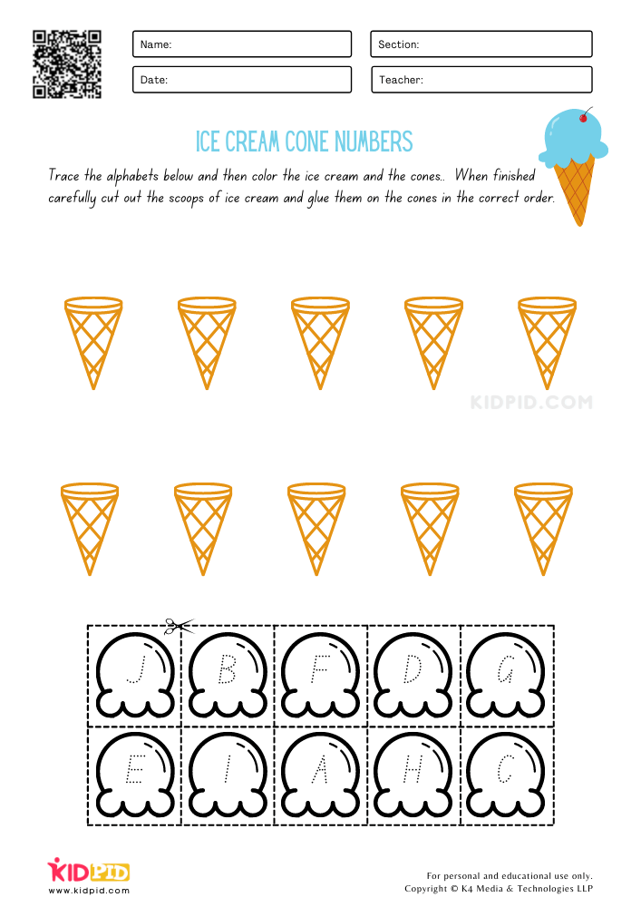 Ice Cream Cone Alphabet Order Printable Worksheets