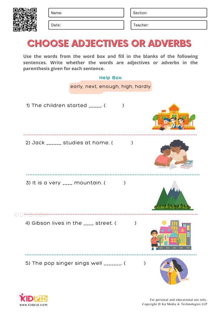 WORKSHEET 10 Choose Adjectives or Adverbs Printable Worksheets for Grade 1