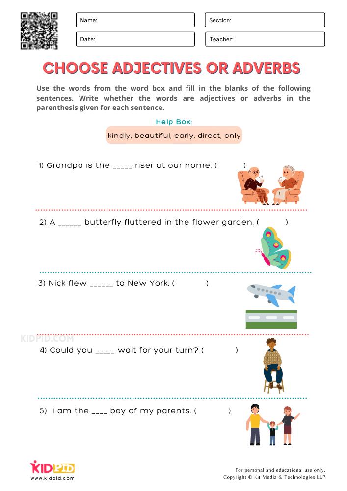 WORKSHEET 12 Choose Adjectives or Adverbs Printable Worksheets for Grade 1