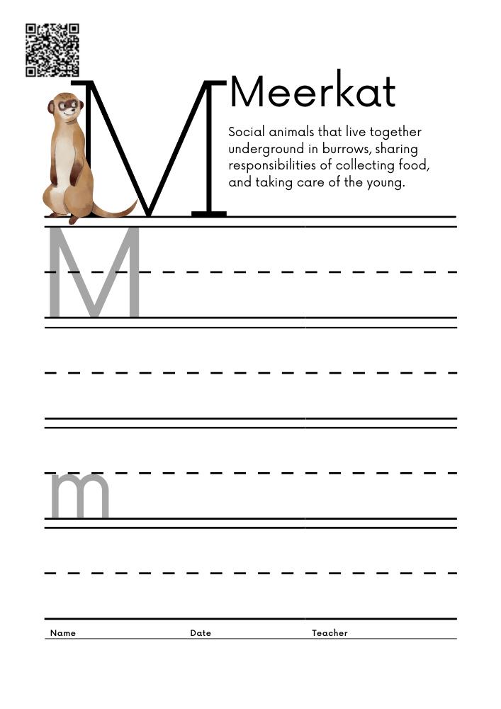 WORKSHEET 13 Animal Alphabet Letter Practice Free Printable Worksheets