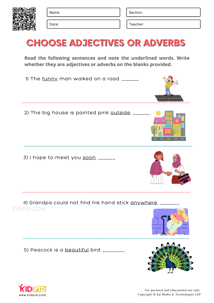 WORKSHEET 2 Choose Adjectives or Adverbs Printable Worksheets for Grade 1
