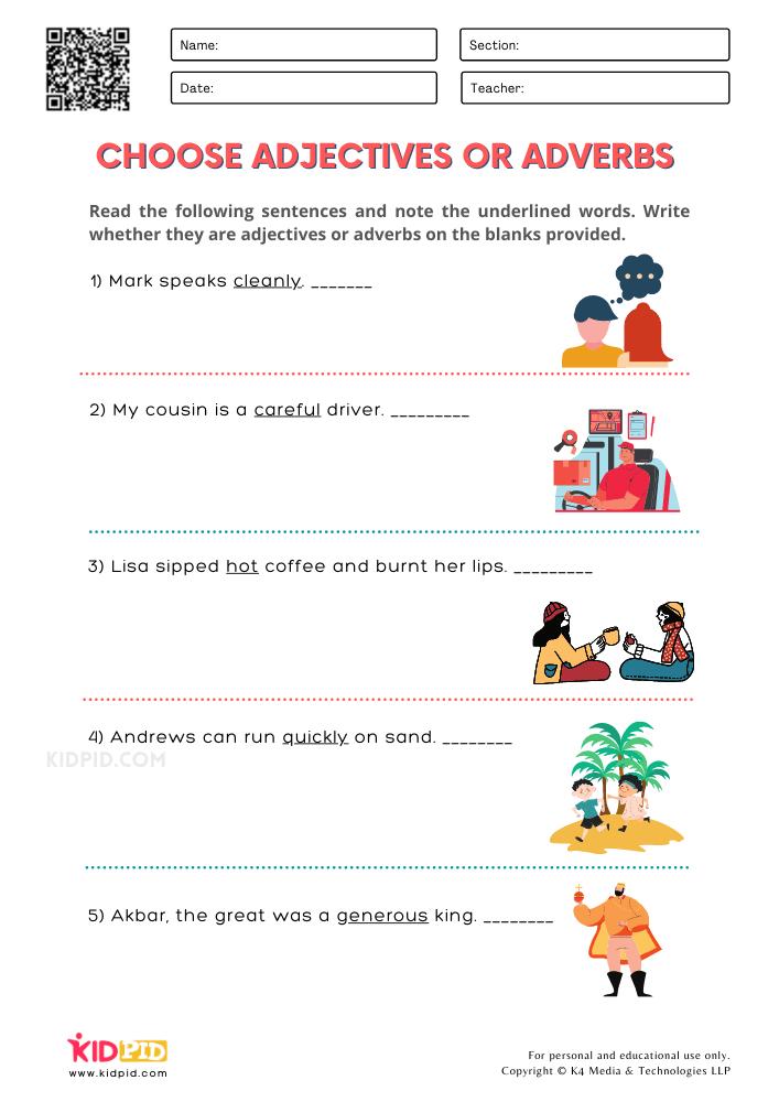 WORKSHEET 3 Choose Adjectives or Adverbs Printable Worksheets for Grade 1
