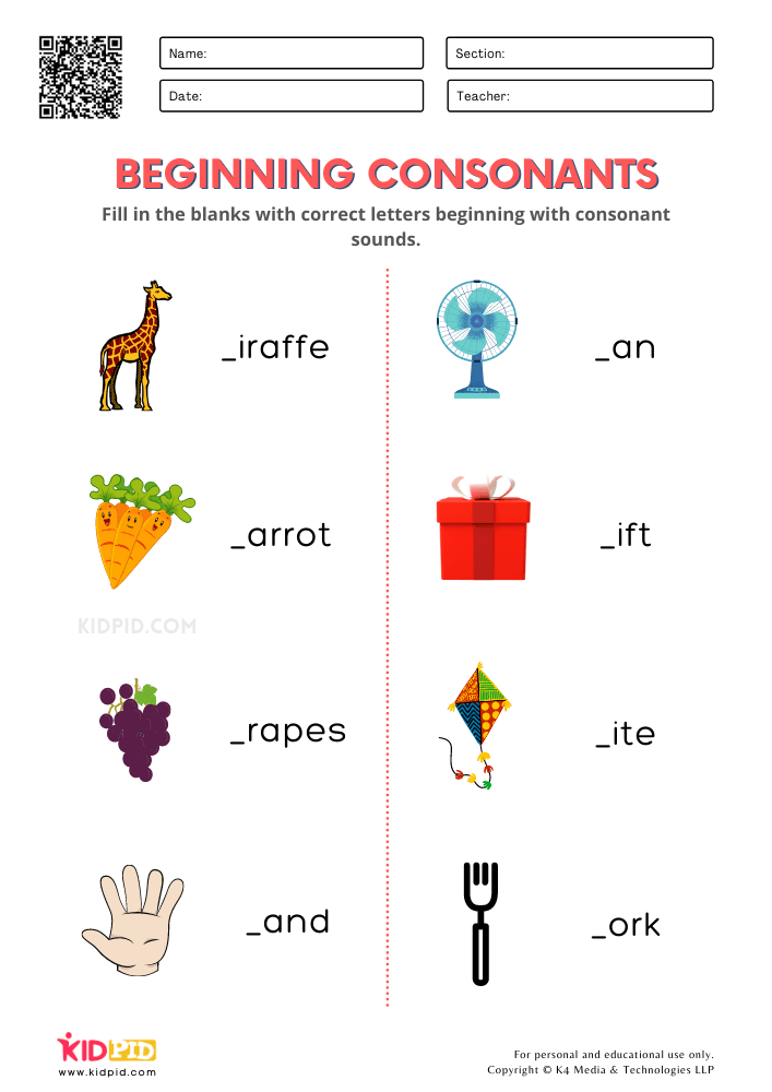 Beginning Consonants Free Printable Worksheets for Kindergarten
