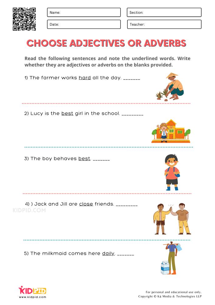 WORKSHEET 4 Choose Adjectives or Adverbs Printable Worksheets for Grade 1